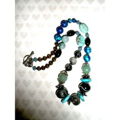 CHUNKY GEMSTONE NECKLACE, Handcrafted Chunky Beaded Gemstone Necklace,... ($30) ❤ liked on Polyvore featuring jewelry and necklaces