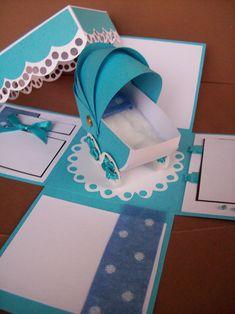Exploding Invitation box bLue stroller for baby boy!