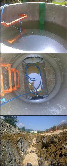 """Pruebas de estanqueidad en red de saneamiento, realizadas por LACOTEC, siguiendo lo establecido en la norma UNE-EN 1610 (según el método """"W"""")."""