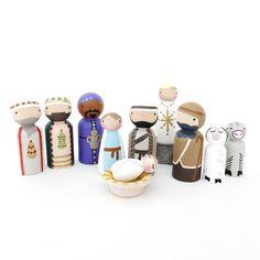 Peg Doll Nativity instellen / / kerst haringen / / houten kerststal set / / Christmas Story / / geboorte van Jezus / / Bijbel verhaal peg dolls