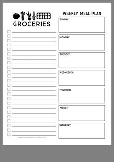 Meal plan grocery list free printable