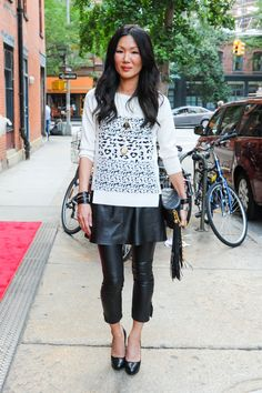 Marissa Webb in a tunic and ankle-length leather pants.