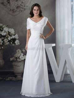 Buy ruched v neck white chiffon floor length mother of bride party dress from elegant mother of the bride dresses collection, v neck neckline column/sheath in white color,cheap floor length dress with zipper back and for prom formal evening party . Bride Party Dress, Wedding Dress Train, Wedding Dress Chiffon, Fall Wedding Dresses, Cheap Wedding Dress, Bridal Dresses, Wedding Gowns, Prom Dress, 2017 Wedding