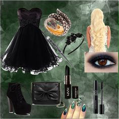 Young DeathEater by vreardon on Polyvore featuring Sam & Libby, Queensbee, L. Erickson, Swarovski and NYX