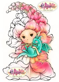 Digital Stamp  Snapdragon Sprite with Baby Dragon  by AuroraWings
