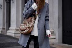More on www.offwhiteswan.com Grey Wool Coat by Zara, Vintage Gucci Monogram Bag, Fringed Denim Black by Zara, Lace Up Boots by Zara, Cozy Knit Look, Winter Streetstyle, Fashion, Trend 2017 #swantjesoemmer #offwhiteswan