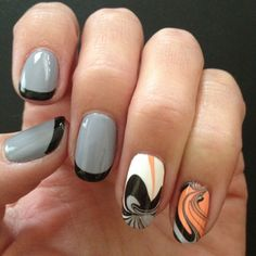 Another combo mani with solids, different colored tips and water marbleized accent nails on each hand. Nail Polish: OPI - Black Onyx, OPI - Alpine Snow, Essie - Cocktail Bling, Essie - Tart Deco, Seche Vite - Dry Fast Top Coat