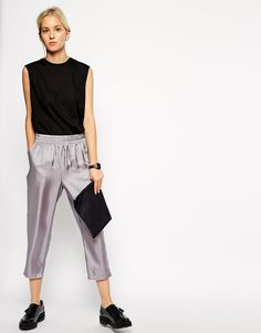 Image 1 of ASOS WHITE Silk Pull on Tapered Pant
