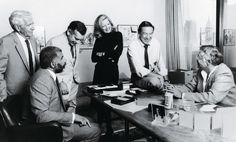 Correspondents Harry Reasoner, Ed Bradley, Morley Safer, Diane Sawyer, and Mike Wallace with 60 Minutes creator Don Hewitt in Hewitt's CBS office, New York City, 1986.