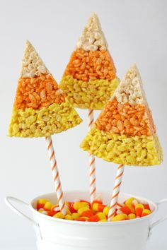 candy corn rice krispie treats. on a stick.