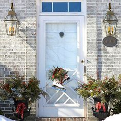 Wreaths are a lovely addition to nearly every front entryway. But there are other items that can add seasonal interest to your door! http://www.bhg.com/christmas/outdoor-decorations/front-door-christmas-decorating-ideas/?socsrc=bhgpin121714addatwisttoyourfrontdoordecor&page=15