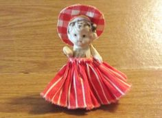 """Vintage FROZEN CHARLOTTE Kewpie with clothes Japan Bisque 2 3/4"""" movable arms"""