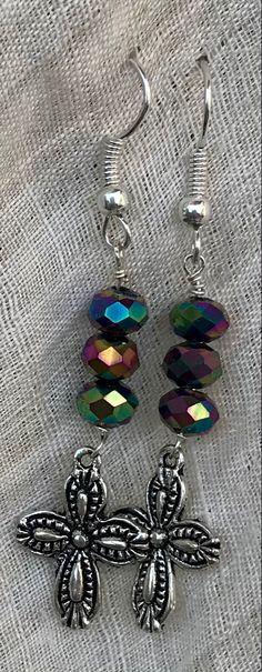 Multi-Colored Beaded Earrrings with Silver Plated Crosses Gift Of Faith, Cross Earrings, Crosses, Mardi Gras, Silver Plate, Plating, Beads, Gifts, Color