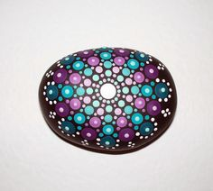 Mandala Dot Design, Hand Painted Pebble, stone, Paperweight, comes with organza gift bag, 6.5 x 5cm by CornishMaidPebbles on Etsy
