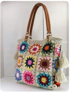 """""""SALE Crochet granny squares handbag with tassels and genuine leather handles, Crochet Bag, Tote Bag, Boho Style Bag, Summer Bag"""" Crochet Purse Patterns, Crochet Tote, Crochet Handbags, Crochet Purses, Crochet Granny, Knit Crochet, Granny Square Bag, Granny Squares, Knitted Bags"""