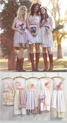 Swooning over these custom made over a vintage slip bridesmaid dresses.  #ecowedding #shabbychic #asadesigns