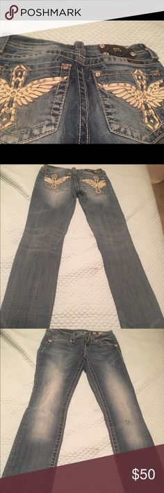 Jeans Cross with wings embroidered Miss Me jeans Miss Me Jeans Straight Leg