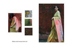 melon and mousse linen sari