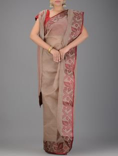 Buy Brown Maroon Handwoven Tangail Cotton Saree Sarees Woven Tales and gamcha Online at Jaypore.com
