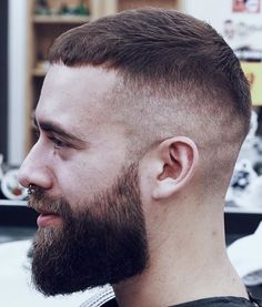 High fade with caesar cut top