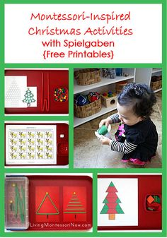 Free Christmas printables from around the blogosphere along with ideas for Montessori-inspired Christmas activities using free printables and Spielgaben educational toys