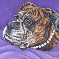 "Lucy the Brindle Boxer in Pearls Original Pet Painting in Acrylics on 10"" x 10"" Stretched Canvas from Pet Portraits by Bethany."