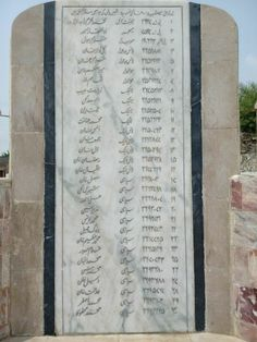 Names of Shaheeds of 35 FF Regt in the attack on Jarpal. 35 FF Monument at Jarpal