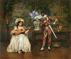 Jules Worms (French,1832-1924) ~ The Harlequin ~ Jules Worms was a French genre painter and illustrator, born in Paris.  He began to study at the Ecole des Beaux-Arts in 1849 under Jean-Baptiste-Adolf Lafrosse, a painter of historical scenes, and consequently developed his own history scenes with comedic overtones.