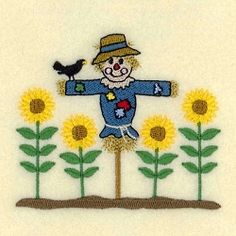 Scarecrow with Sunflowers - 4x4 | What's New | Machine Embroidery Designs | SWAKembroidery.com Starbird Stock Designs