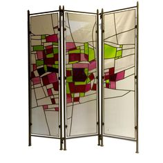 Vintage stained glass folding screen realized by France Vitrail International : arts and crafts glass studio in Paris. Unique artwork designed and signed by ERIC Bonte in 1984. Have all a great, peaceful and sunny weekend dear friends, greetings  For sale