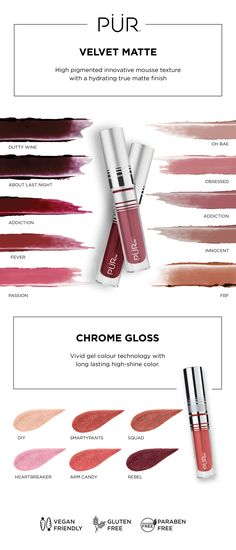 Pout-perfecting lips from PÜR cosmetics - available in Velvet Matte and Chrome Glaze. #purbeauty