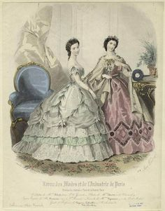 1862, Paris fashion plate, 2 young lady's ball gowns.