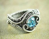 Aquamarine Blue Crystal Wire Wrapped Ring, Antique Silver Filled Wire Woven Wave Jewelry