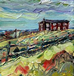 Red House at Broad Cove (sold) - Irene Duma - Fine Art Salt Box, Box Houses, Winding Road, Canadian Art, Mini Paintings, Affordable Art, Newfoundland, Irene, Cabins