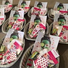 I had a fun Play Footsie party for 10 women!! Here's my foot soak tins (turkey roasters) with 3 samples, biz card, catalog, Play Footsie line brochures, Do Not Disturb sign from Day Away, wish list, wash clothes and of course, a CHOCOLATE treat.