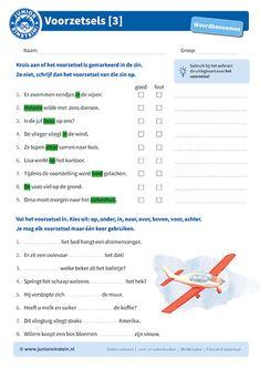 Met dit werkblad leer je hoe je voorzetsels kunt herkennen. Eerst ga je aangeven of het voorzetsel goed of fout in de zin gemarkeerd is. Als het fout is, dan schrijf je het juiste voorzetsel op. Daarna zie je een aantal zinnen staan waarin het voorzetsel ontbreekt. Aan jou de taak om het juiste voorzetsel in de zin in te vullen. Na het maken van dit werkblad kun je voorzetsels gemakkelijk herkennen. Learn Dutch, Classroom Expectations, Grammar, Teacher, Letters, Learning, Einstein, Lebanon, Professor