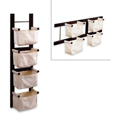 Espresso Magazine Rack with Canvas Baskets ($40) ❤ liked on Polyvore featuring home, home decor, small item storage, storage baskets, wall mounted storage baskets, wall mounted baskets, wall baskets and wall mounted magazine holder