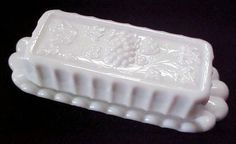 Westmoreland Paneled Grape Milk Glass Quarter Pound Butter Dish #Westmoreland
