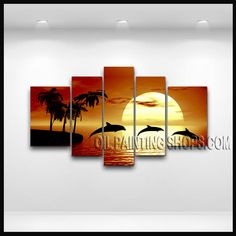 Large Modern Abstract Painting Oil Painting On Canvas Gallery Stretched Moon Light. This 5 panels canvas wall art is hand painted by E.Cheung, instock - $175. To see more, visit OilPaintingShops.com