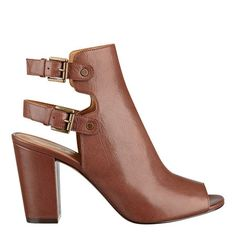 Brown peep toe booties. Nine West.