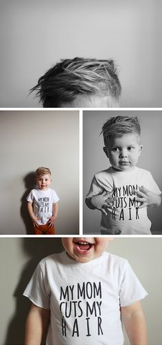 Gaaah! I want this kid! 'my mom cuts my hair' mini mioche tee | pinksugarlajd. cutest child on this planet. i hope my son looks like him!