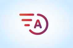 Fast line A letter logo monogram by Vector-Stock on Creative Market