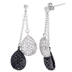 Sterling Silver Twin Dangling Tear Drops CZ Earrings Micro Pave Black  White Stones 1 34 inch long >>> Click image for more details.