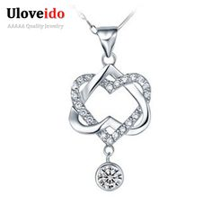 Find More Chain Necklaces Information about Uloveido 40% Off Necklaces for Women 2016 Silver Hearts White Purple CZ Diamond Necklace Micro Pave Crystal Pendant Jewelry N576,High Quality necklace sun,China necklace tee Suppliers, Cheap necklace thick from Ulovestore Jewelry on Aliexpress.com