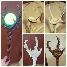 Staff I whipped up last night to complete my Maleficent costume! 2 dowells, wire, a spaghetti jar lid, and clay. Donezo. It's about 4' tall and the glowing orb is soooo cool in person! My phone didn't...