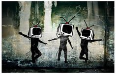 A great street art poster by the enigmatic Banksy! Hard to say what these dancing TV Heads mean, but there's surely something deep going on here... Ships fast. 11x17 inches. Check out the rest of our
