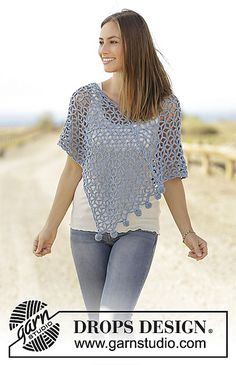 Ravelry: 178-30 Tender Sky spring or summer poncho pattern by DROPS design