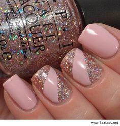 Glitter light pink nails - BeaLady.net