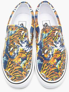 006f3d85ba69f5 Kenzo Orange Flying Tiger Print Vans Edition Slip ons in Orange for Men -  Lyst Tiger Print