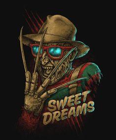 freddy krueger Sweet dreams T shirt on Mercari Freddy Krueger, Scary Movies, Horror Movies, Horror Artwork, Horror Icons, Arte Horror, Nightmare On Elm Street, Life Is Strange, Halloween Wallpaper